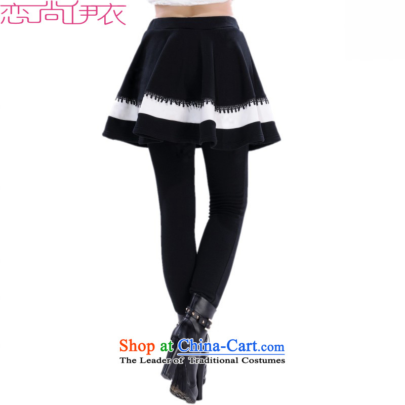 Payment on delivery to 2015 autumn and winter leave trousers two girls wearing trousers, forming the basis of the large, forming the thick wool pants Trousers tight elastic Bonfrere looked as casual wear black�L 2 feet 75-3 ft 9