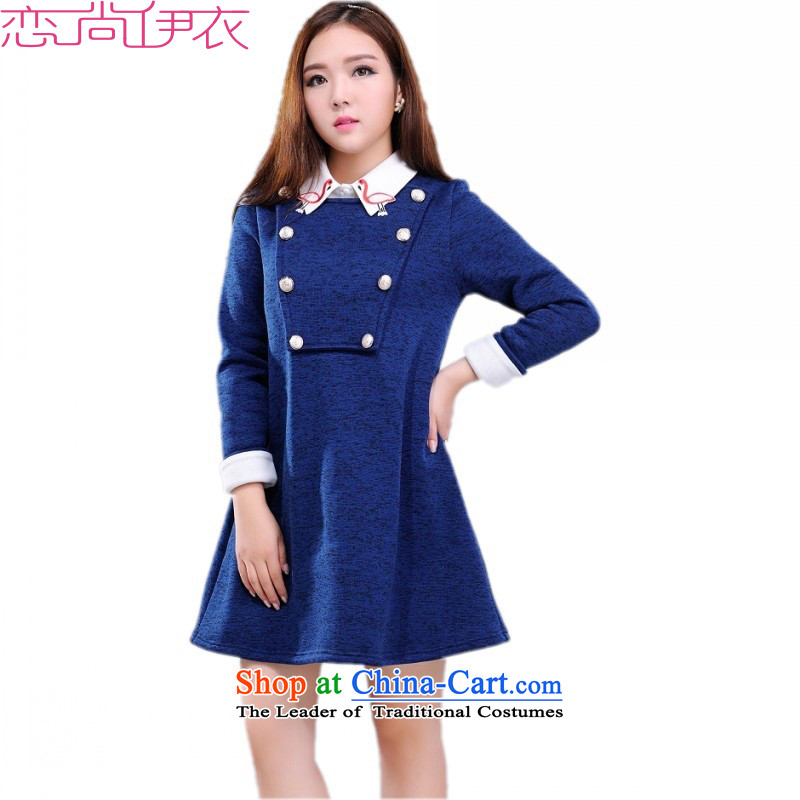 The problem with obesity m2015 autumn and winter new plus lint-free dresses to xl camiknickers collar removable thick warm knitting long blue skirt wear燼pproximately 170-185 4XL catty