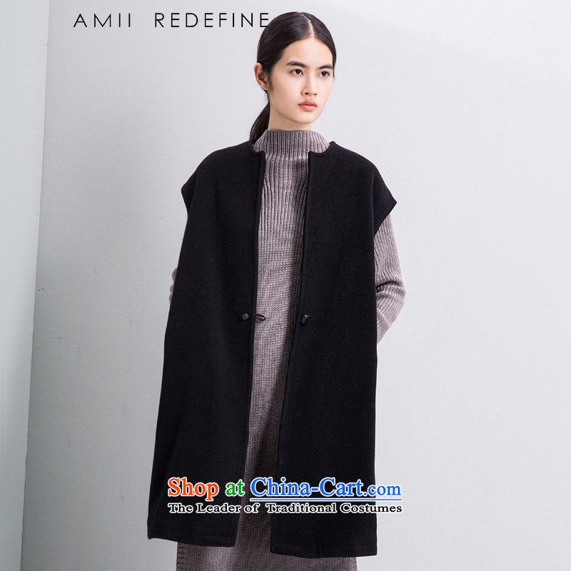 The new round-neck collar amiiredefine2015 winter Lok shoulder larger vest jacket 61581754 in long hairs? Black燤