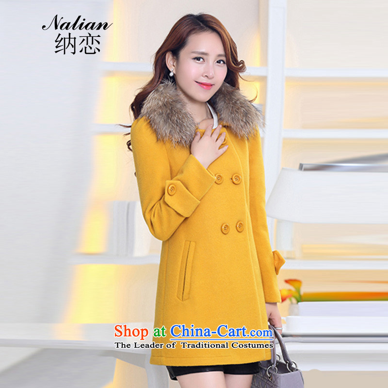 The land   by 2015 Fall_Winter Collections in the new Korean long Sau San Wild Hair Jacket coat? female Yellow M
