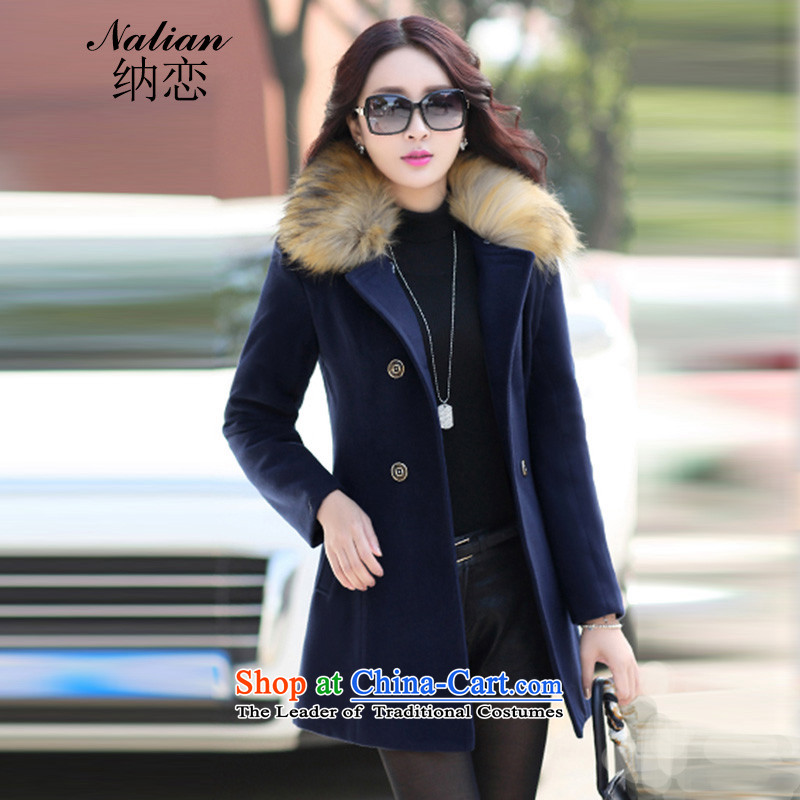 The  2015 autumn and winter love new stylish wild beauty Korean small wind in long-gross jacket coat? Navy Female M