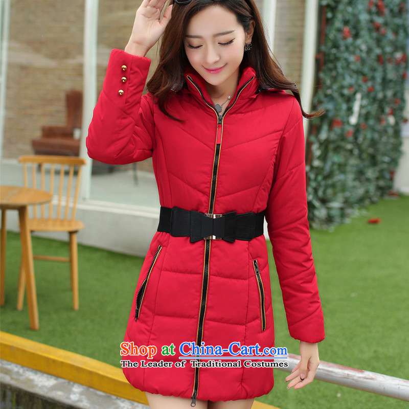 The Korean version of the 2015 Winter Olympics women who decorated cotton coat wild thick quality in large numbers of women in the countrysides long autumn and winter large Korean women who are padded coats decorated5XL Magenta