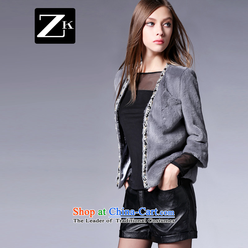 Zk Western women?2015 Fall_Winter Collections Of New Short Sleeve V-Neck 7 emulation fur jacket short of gray jacket??M