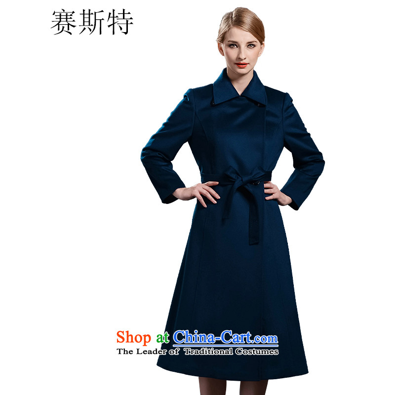 In the women's race counters genuine synchronization offer cashmere long warm jacket coat聽Q10042聽聽AS_155_80_ blue
