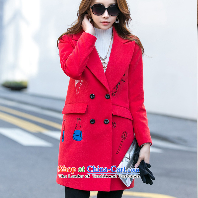 One meter Sunshine聽 2015 winter clothing new gross girls jacket? Long Korean thin and color graphics Sau San Mao coats female RED聽M?