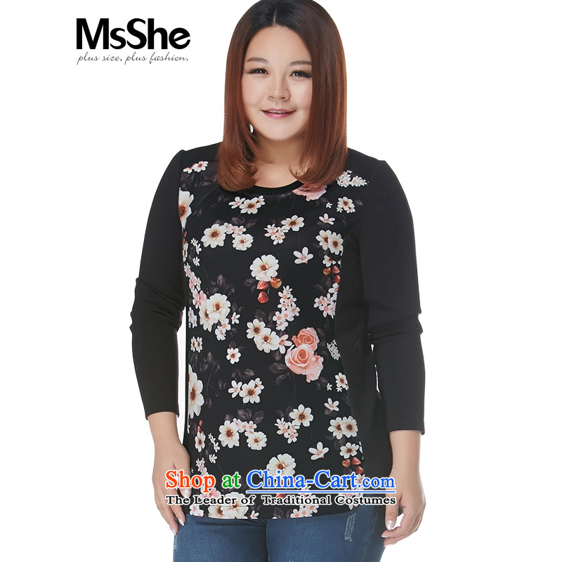 To increase the number msshe women 2015 new winter clothing thick MM stamp stitching 11147 T-shirt with round collar Sau San black toner spend�L