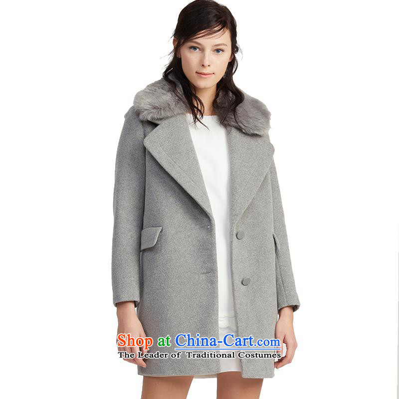 Lily2015 winter clothing decorated new women's body in pure color long coats 115490F1633 gross? Ma Tei -507 165_88A_L Gray