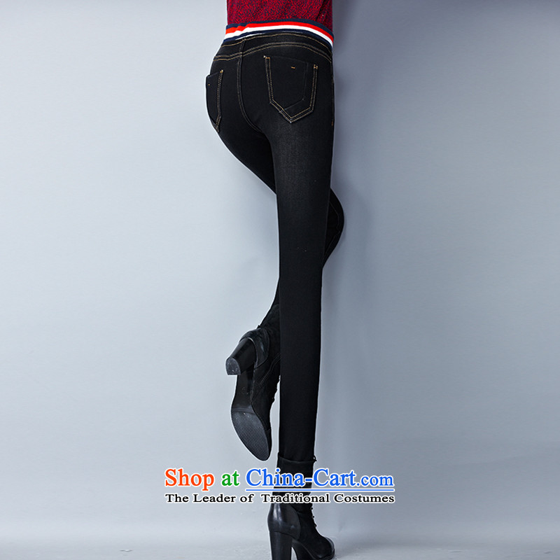 The officials of the fuseau larger ladies pants autumn and winter to xl jeans thick mm thick elastic waist-plus pant black XXXL, Fuseau Mano turbid , , , shopping on the Internet