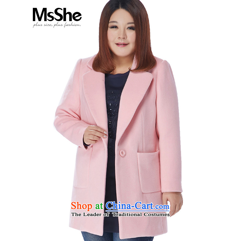 The Ventricular Hypertrophy code msshe women 2015 new winter bagging lapel solid color thick MM Gross overcoats 10751? 5XL Pink