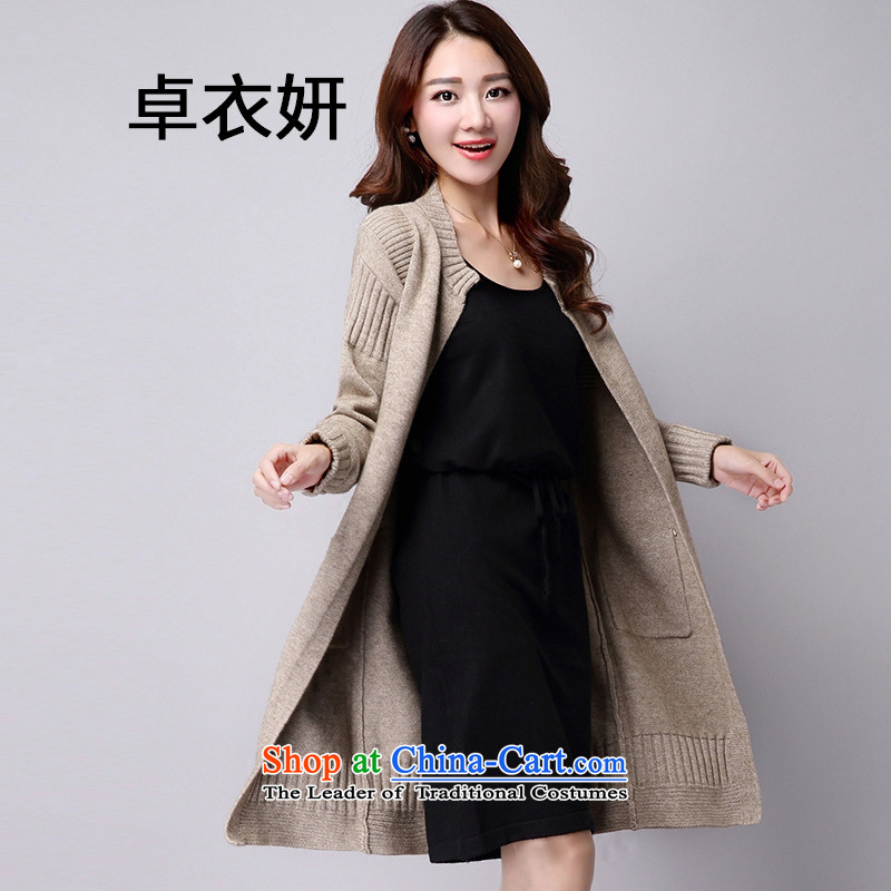1519_2015 autumn and winter new product version won thin solid color in the Sau San long sweater jacket female khaki L