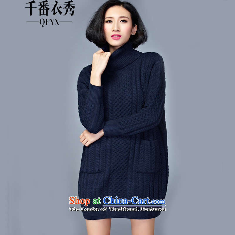 Double Chin Yi Xiu Grand lady knitted shirts code set in the header of the girl long thick mm to intensify the high female ZM7639 Neck Sweater dark blue are code