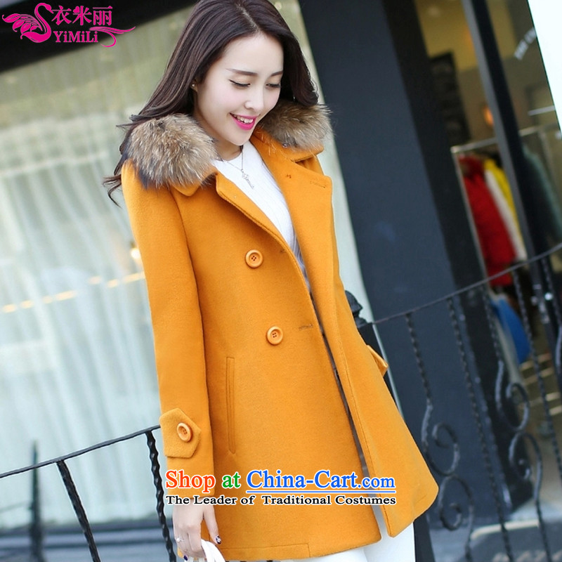 Yi Millies 2015 winter clothing new Korean version of large numbers in length of Sau San for female 6640--890 coat? Yellow M