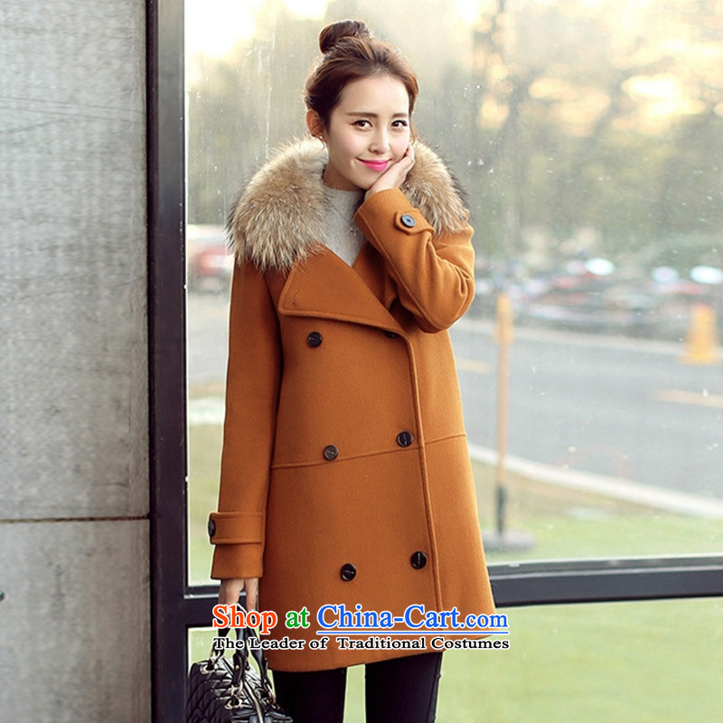 Statements were made by Lau?2015 winter clothing in New England wind long double-thick cotton wool for the gross? Kim copper-colored coat?XXL
