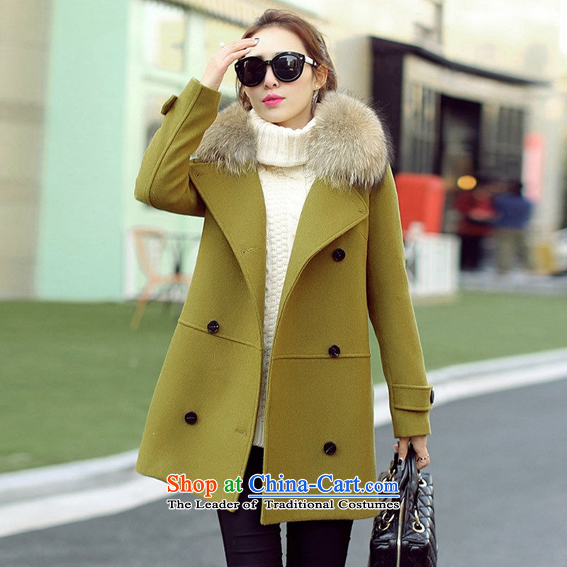 Statements were made by Lau聽2015 winter clothing in New England wind long double-thick cotton wool for the gross yellow and green overcoat?聽M