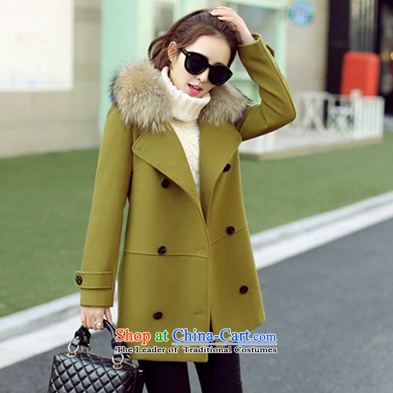 Statements were made by Lau聽2015 winter clothing in New England wind long double-thick cotton wool for the gross coats yellow green聽M? Lau Statement (SHE says) , , , shopping on the Internet