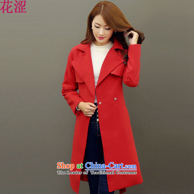Shibuya-kei gross? coats spent 2015 autumn and winter new Korean version of large Sau San colors Candy? 1104 Red Jacket femaleM