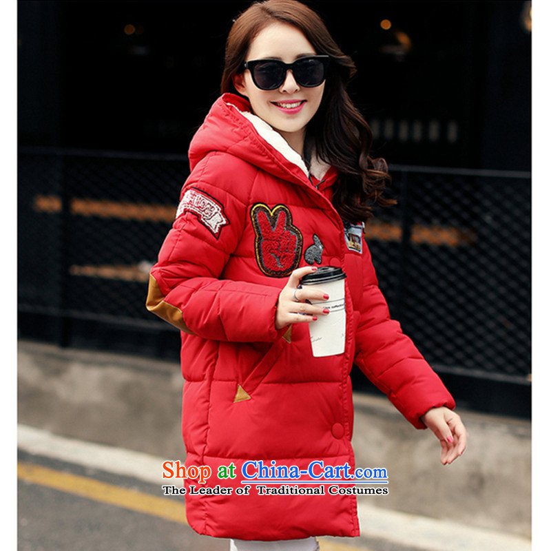 2015 winter clothing new Korean version of large numbers of ladies thick MM loose, Hin thin, thick thick sister in long thick cotton Sau San winter coats cotton coat聽XXXL Red Jacket