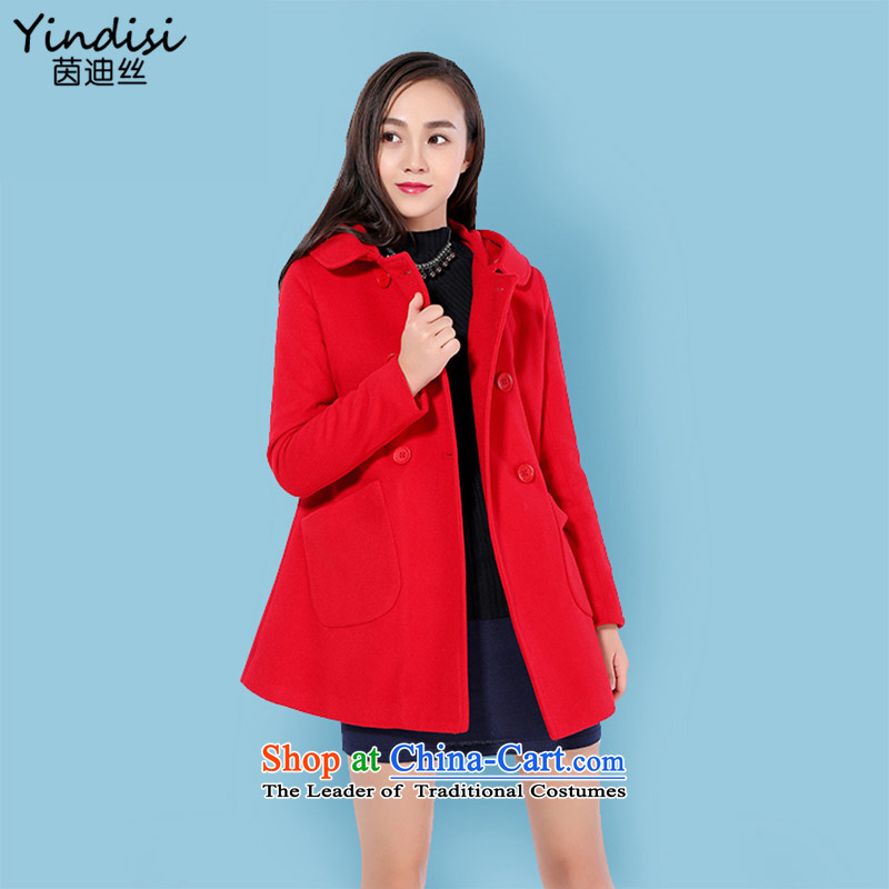 Athena Chu countryman2015 autumn and winter coats gross new female Korean?   in long jacket, a T-shirt REDM