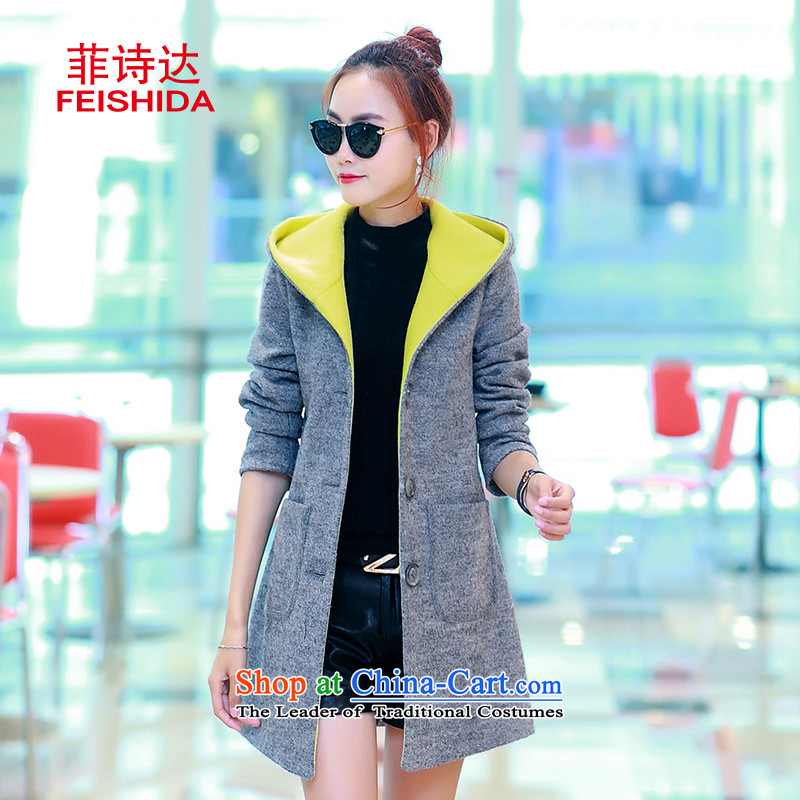 Up to 2015, Ms Elsie autumn and winter new products plus gross cotton jacket female Korean?   in the long, thin graphics thick hair? M gray coat