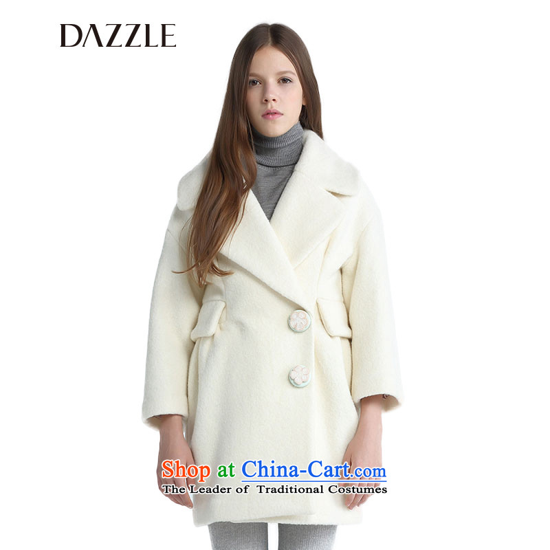The DAZZLE in winter, elegant flowers of the auricle of the coin-long-sleeved wool coat244G322 straight160S Beige