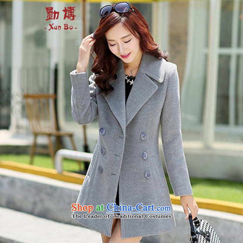 With 2015 autumn and winter-hoon new Korean Sau San Mao? coats that long hair? jacket R.A. light gray M