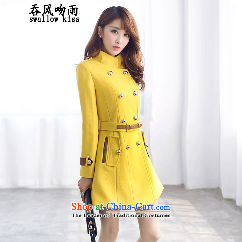 Wind and rain 2015 winter kiss new gross? female Korean jacket thin in the Video   long long-sleeved gross? female yellow X L Coats