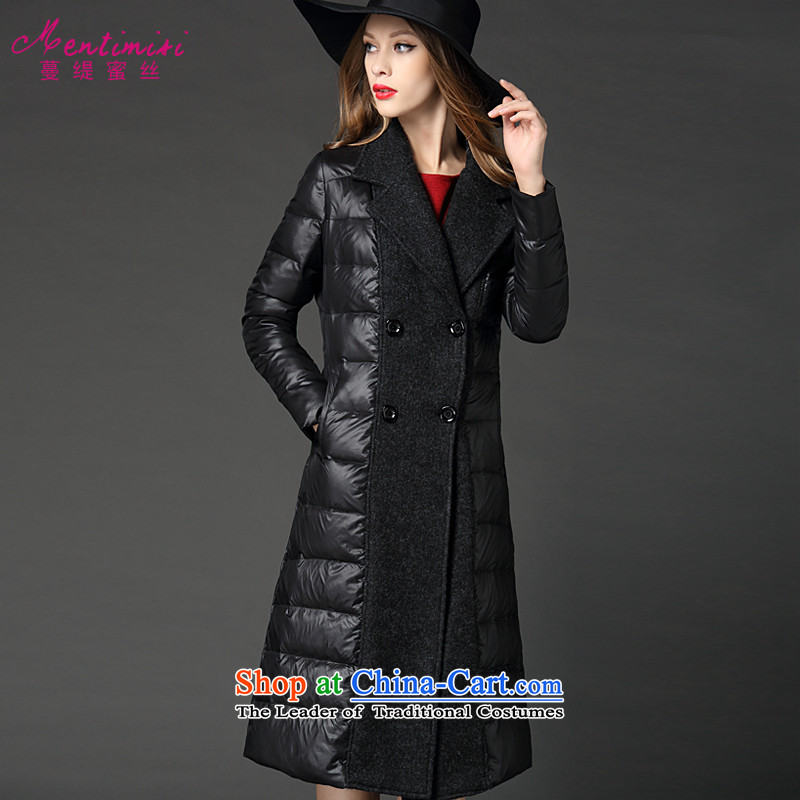 Overgrown Tomb economy honey silk euro version thick sister to increase women's code 2015 winter clothing new products in long coats F5058 thick black 3XL around 922.747 155-165