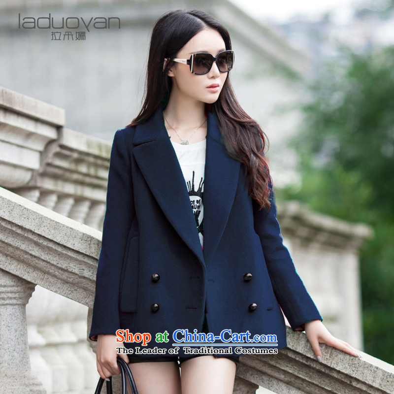Pull the latte macchiato is gross shortage of female jacket? 2015 autumn and winter new Korean Sau San double-wool a wool coat thick female navy燲XL