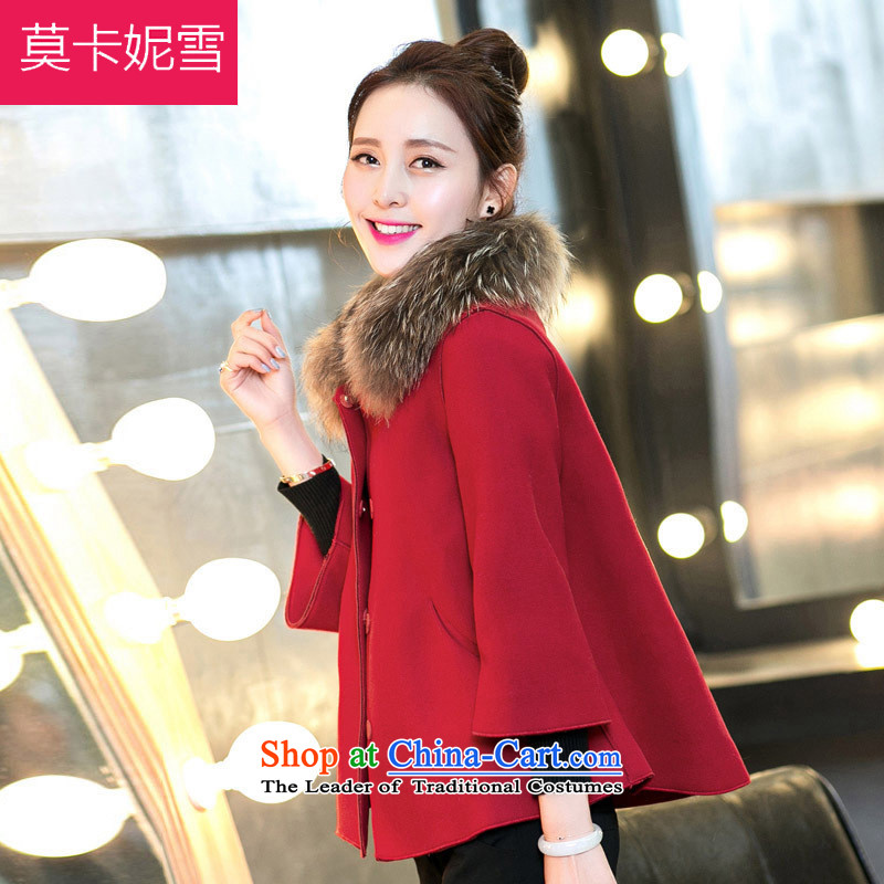 Morcar Connie snow 2015 autumn and winter new thick cloak short of the amount so Coat shawl RED燤