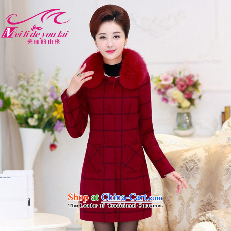The origin of the beautiful coat and women to gross? cashmere overcoat grid code winter 2015 new gross? In long coats jacket coat mother with wine red wine red M IL