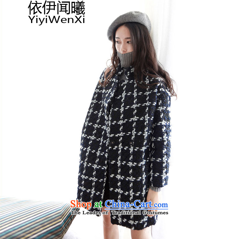 In accordance with the smell of Hei Mao jacket female Korean? the date of college students girls gross sub-style coats in long?_ loose video thin young daughter thick black and white checkered warm M