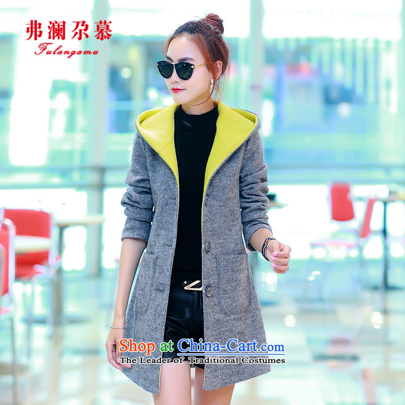 The World Id Kah Plus Silver cotton wool coat in? long winter 2015 new women's han bum cap reinforcement warm gross a wool coat gray燤