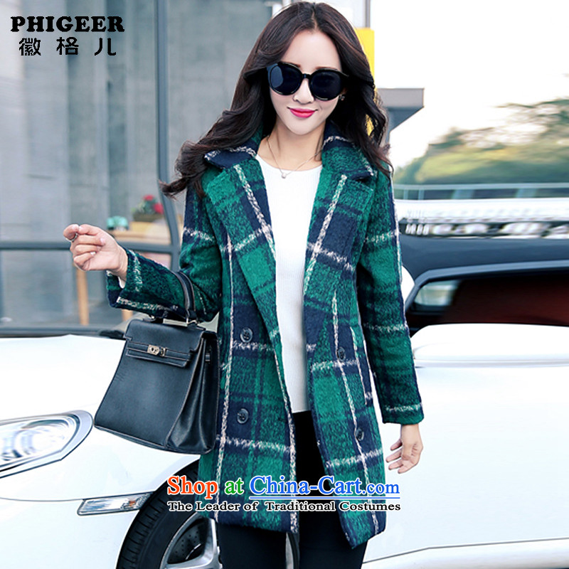 Logo, child-care autumn and winter new stylish Korean version of gross?   Graphics thin coat a wool coat Ms. winter clothing? The grid green jacket2XL