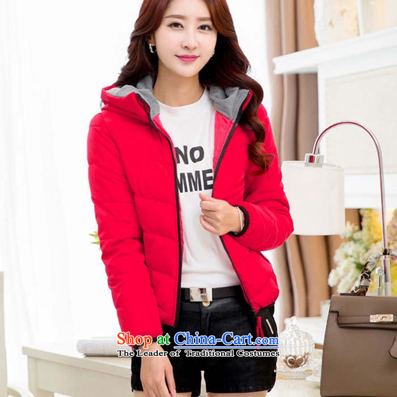 Extra-thick mm2015 female autumn and winter thick sister large new Korean female cotton personality short_ with cap stylish feather cotton coat, Red Jacket聽6XL Sau San recommendations 190-220 catty