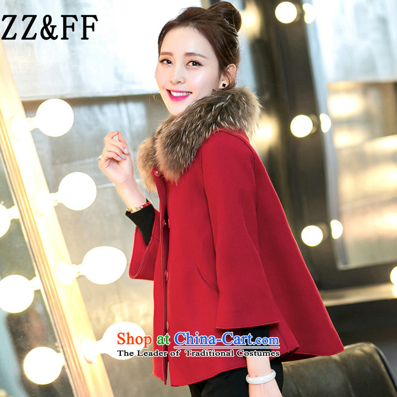 2015 Autumn and winter Zz&ff new Korean large Liberal Women's gross collar cloak a jacket female red cloak XXXXL gross?