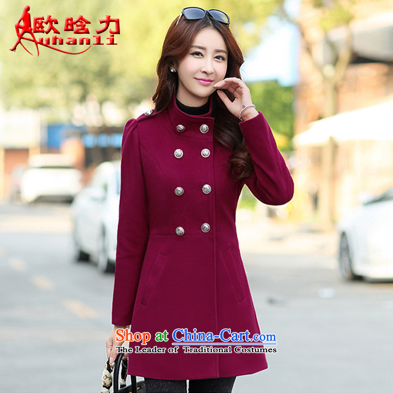 The OSCE detailed power? jacket women 2015 gross fall for women for winter new Korean version in Sau San long coats_? female 8863 wine red XL