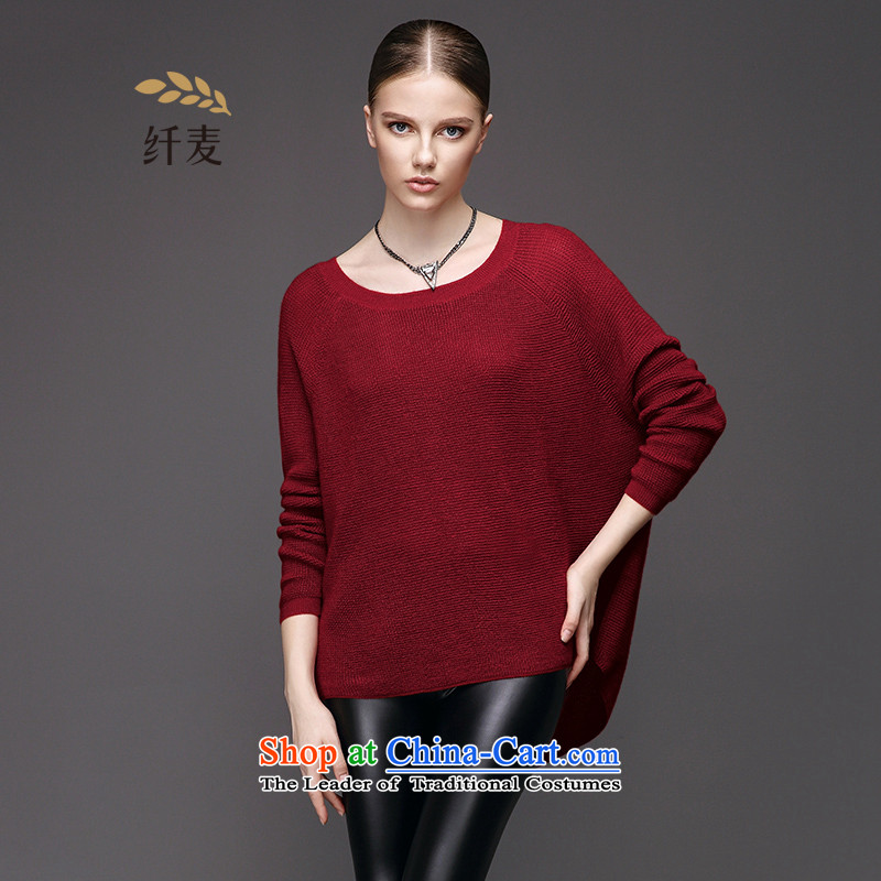 The former Yugoslavia Migdal Code women 2015 autumn in loose fit thick mm long bat sleeves Knitted Shirt sweater9531332433XL red