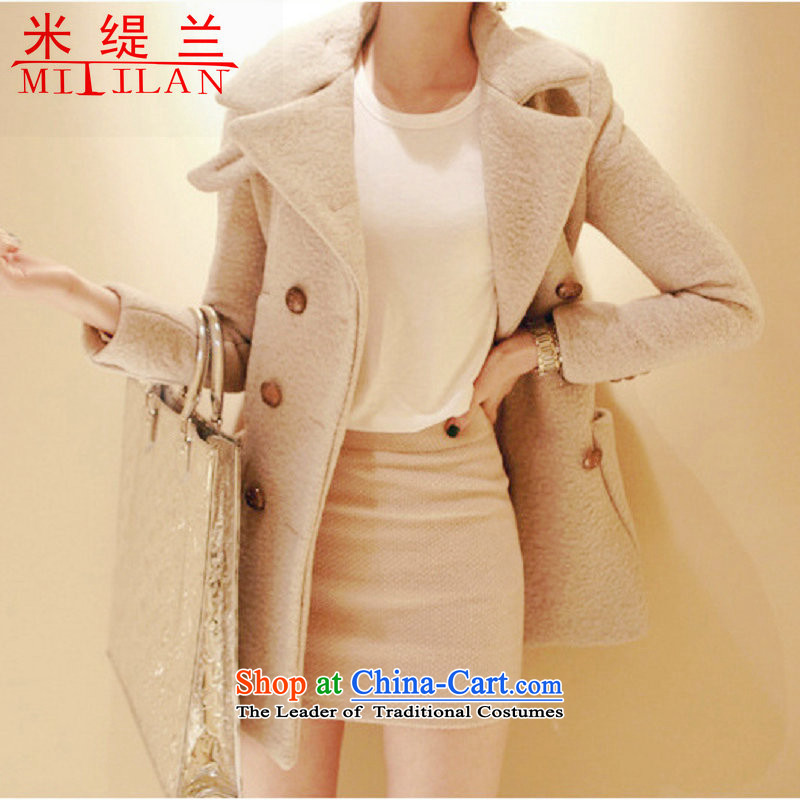 In 2015 winter m economy Korean jacket in gross? Long roll collar double-thick hair? women coats new beige cross-section of the pocket M