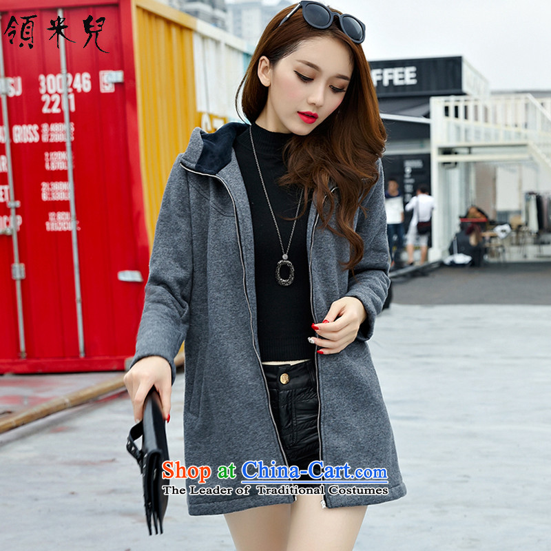 For M-Large 2015 women Fall_Winter Collections new thick mm video plus thin lint-free thick warm gross? Cardigan sweater jacket W3010 Gray2XL