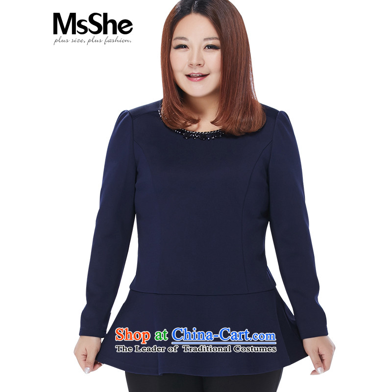 The Ventricular Hypertrophy code msshe women 2015 new MM thick winter clothing decorated with round collar link small A swing shirt thick blue�L 10701