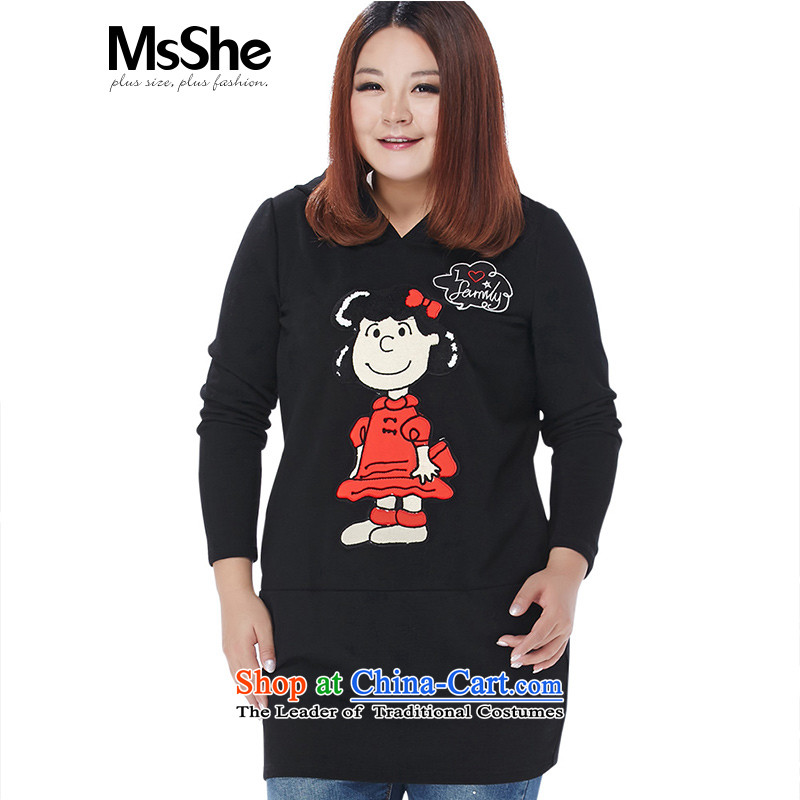 Msshe xl women 2015 new winter clothing thick MM cartoon embroidered cap long sweater thick 10443 Black 4XL