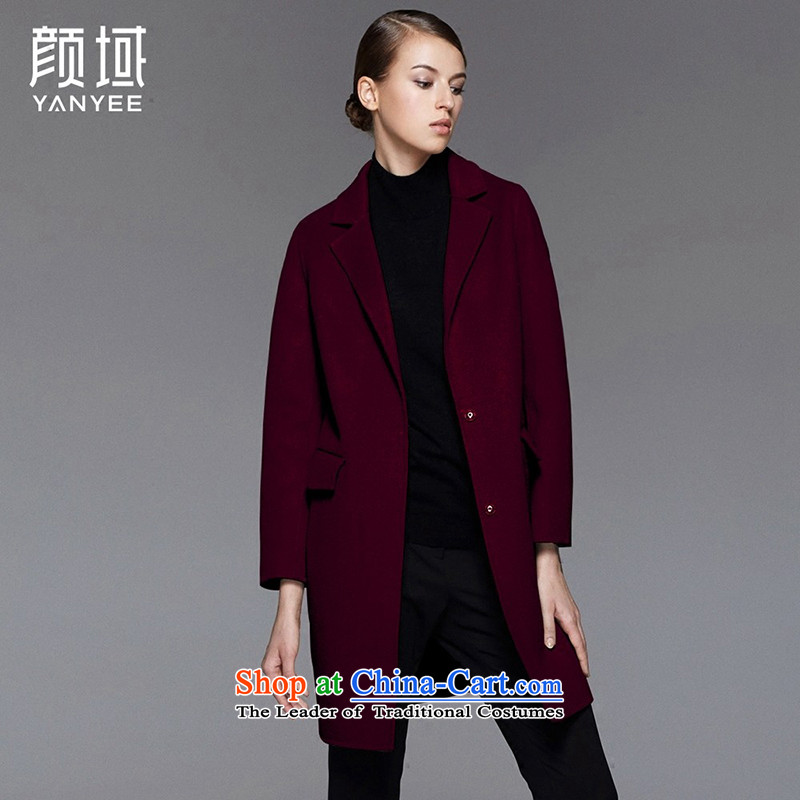 Mr NGAN domain 2015 autumn and winter new larger women in long woolen coat single row detained two-sided gross 04W4581 jacket? wine red M_38