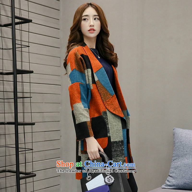 Sin has爈oaded the autumn and winter 2015 new Korean women with retro latticed gross girls jacket? long coats jacket compartments_? pre-sale燤