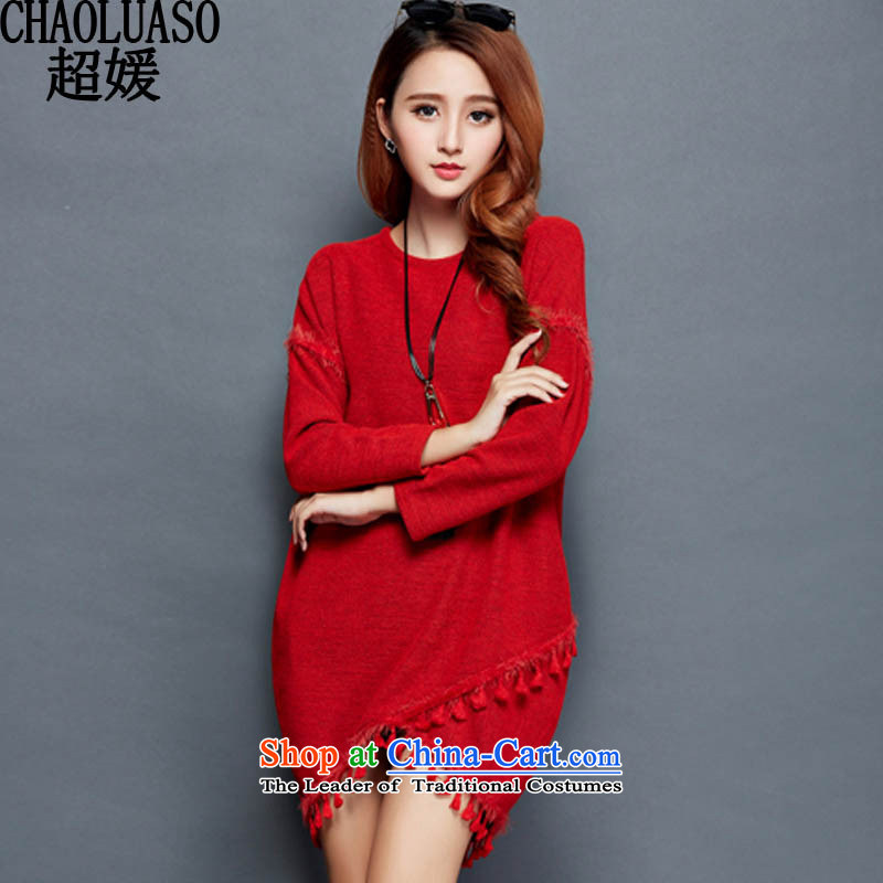 Ultra-yuan by 2015 winter plus large thick wool women in long long-sleeved thick MM mount fall to intensify the warm dresses CY319 RED XXL