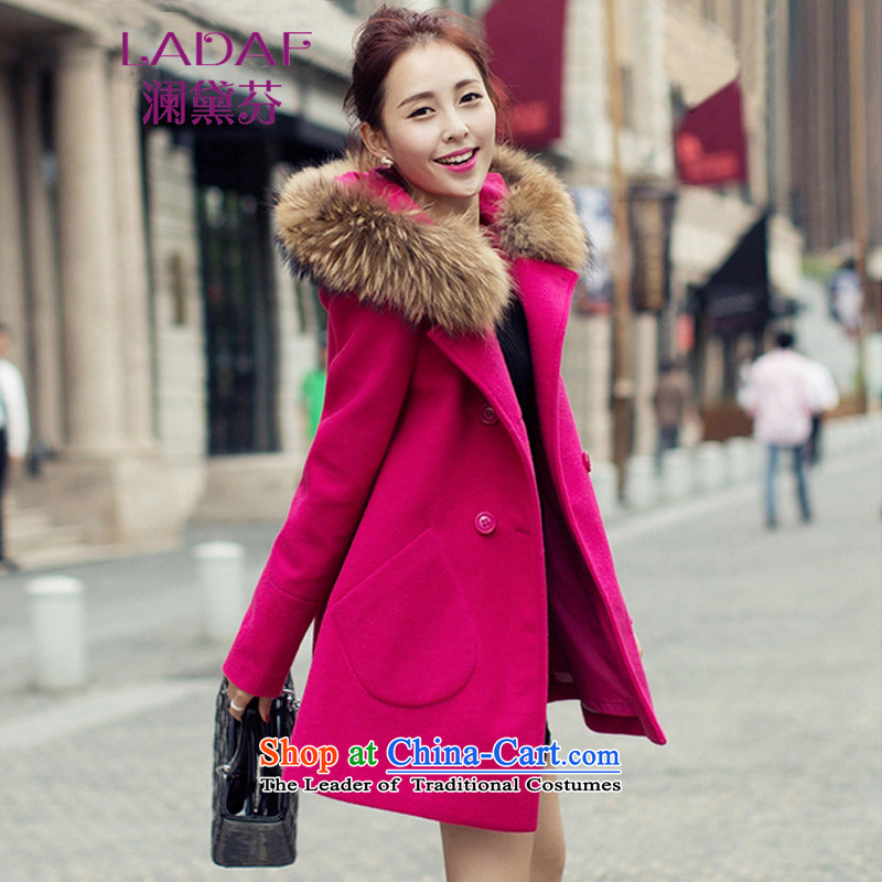 The World 2015 autumn and winter fun Doi new goddess van gross? double-jacket Korean version of long overcoat for women of 8503 RED  M