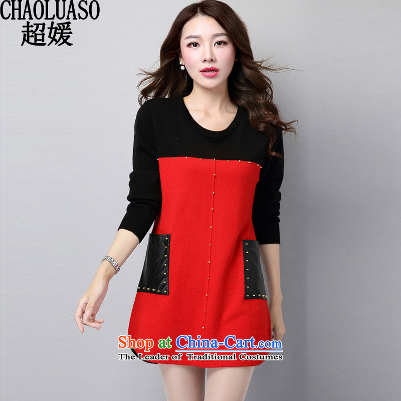 Ultra-yuan for larger women to increase expertise mm autumn and winter new Knitted Shirt, long-sleeved clothes loose video, forming the basis of thin sweater CY320 female red XXL