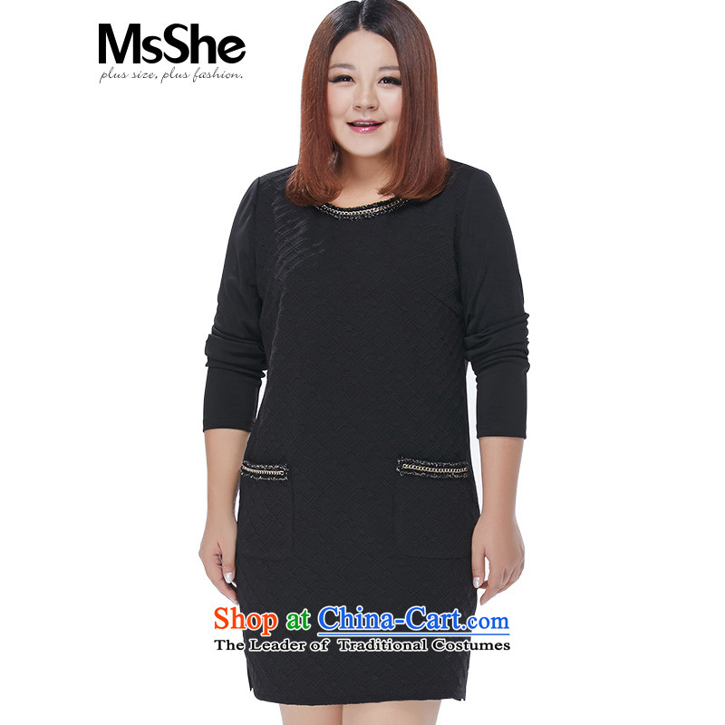 Large msshe women 2015 new winter clothing decorated link jacquard Knitting round-neck collar dresses thick black6XL- pre-sale 10693 pre-sale to arrive at 12.10