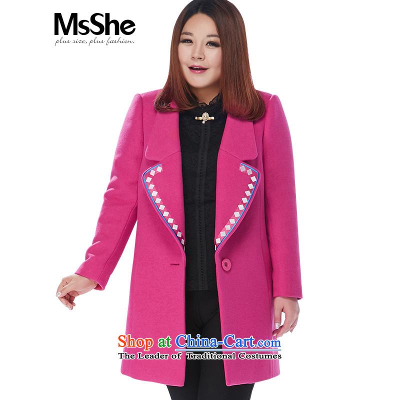 Msshe xl women 2015 new MM thick winter coats jacket 11138 gross?5XL red