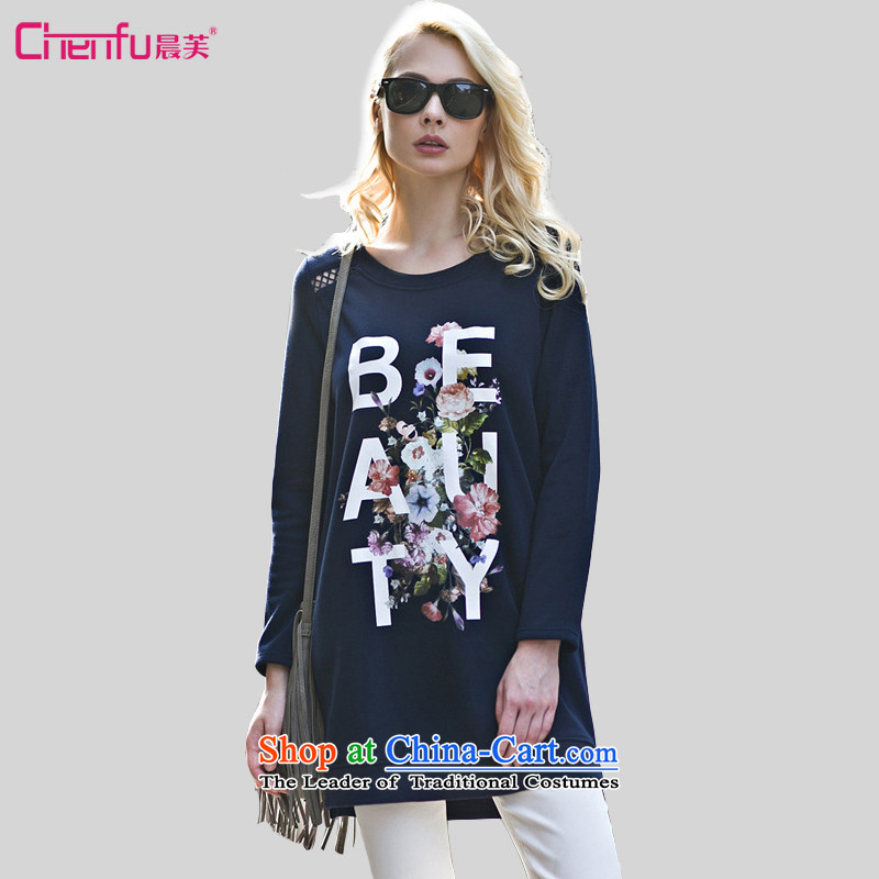 Morning to 2015 autumn and winter winds New Europe and the code to work with round-neck collar letters stamp bare shoulders Long-sleeve thick MM THIN in the Video   Long Sweater Blue M recommendations 90-110 catty