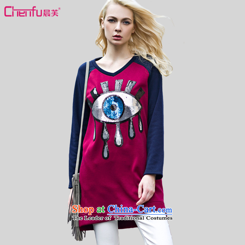 Morning to 201 new autumn and winter winds western dress code stitching knocked colors plus lint-free long sweater thick slice MM bright eye pattern of the forklift truck, under the long-sleeved shirt REDMrecommendations 90-110 catty
